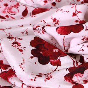 Red, White Silk Crêpe de Chine Flowers Print fabric for Dress, Pants, Shirt, Skirt.