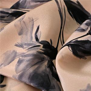 Gray, Pink Silk Crêpe de Chine Flowers Print fabric for Dress, Pants, Shirt, Skirt.