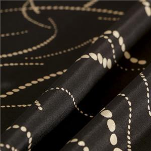 Black Silk Crêpe de Chine Abstract Print fabric for Dress, Pants, Shirt, Skirt.