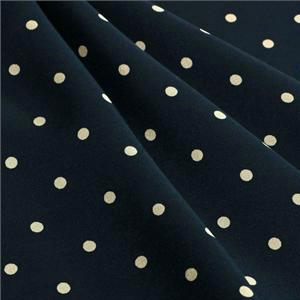 Blue, White Silk Crêpe de Chine Polka dot Print fabric for Dress, Pants, Shirt, Skirt.