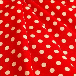Red, White Silk Crêpe de Chine Polka dot Print fabric for Dress, Pants, Shirt, Skirt.