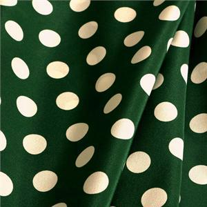Green, White Silk Crêpe de Chine Polka dot Print fabric for Dress, Pants, Shirt, Skirt.