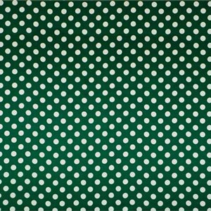 Green, White Silk Satin Polka Dot Fabric - Raso Se Ominibus Pois 201604