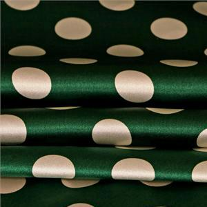 Green, White Silk Crêpe Satin Polka dot Print fabric for Dress, Pants, Shirt, Skirt.