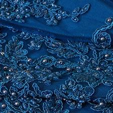 Tissu Dentelle-Broderie Bleu en Polyester pour Robe de cérémonie.