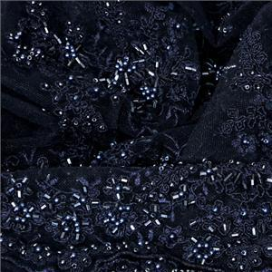 Blue Polyester Laces-Embroidery fabric for Ceremony Dress, Party dress.