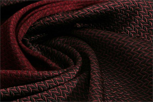 Black, Red Wool-blend coating Fabric