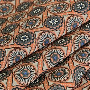 Beige, Brown Mixed Arabesques Damasks Volutes Jacquard fabric for Dress, Jacket.
