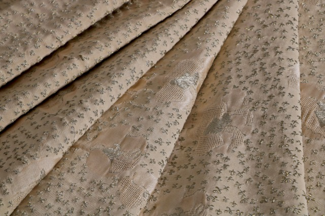 Beige Broccato Jacquard 012907 Floral Fabric