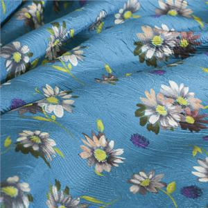 Blue Mixed, Silk Flowers Print fabric for Dress, Shirt, Skirt.