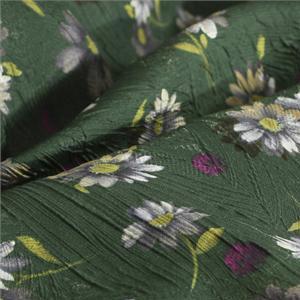 Tissu Imprimé Fleurs Vert en Mélangés, Soie pour Chemise, Jupe, Robe.