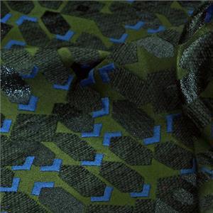 Black, Blue Mixed Geometric Jacquard fabric for Jacket, Light Coat.