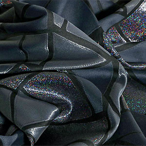 Black, Silver Mixed Ethnic Jacquard fabric for Party dress.