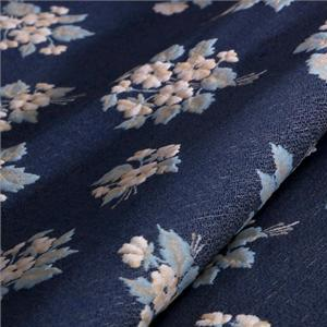 Blue, Multicolor Mixed Flowers Jacquard fabric for Jacket, Skirt.
