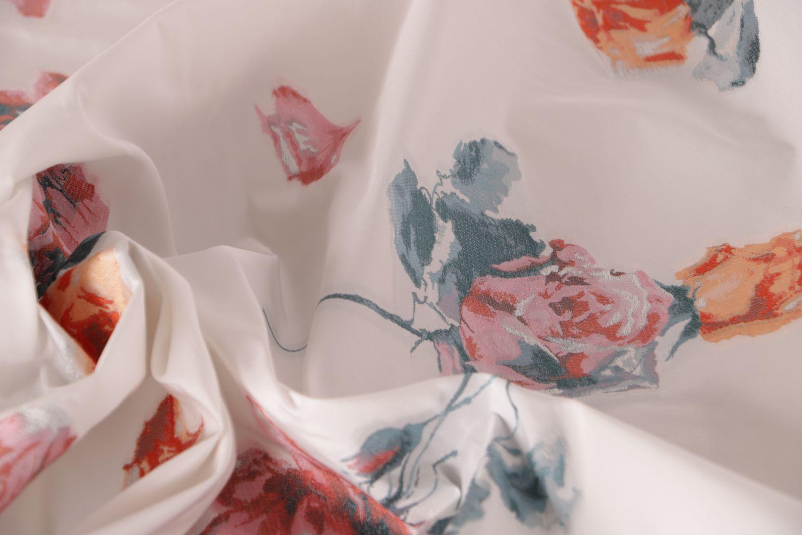 Tessuto Jacquard Fiori Bianco, Rosso in Poliestere, Seta per Abito da Cerimonia, Giacca, Gonna.