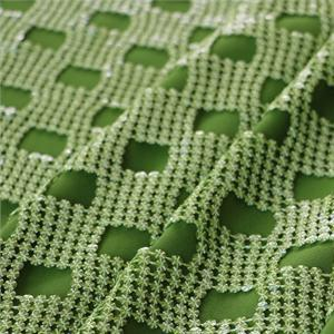 Green Polyester Geometric Laces-Embroidery fabric for Party dress, Shirt.