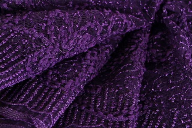 Purple Polyester Flowers Laces-Embroidery fabric for Ceremony Dress, Dress, Party dress, Skirt.