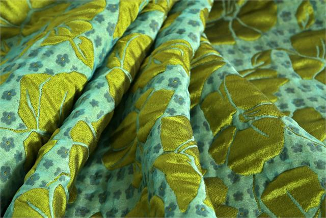 Brown and Green Floral Woven Fabric