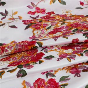 Multicolor, White Polyester Flowers Laces-Embroidery fabric for Ceremony Dress, Dress, Light Coat, Party dress.
