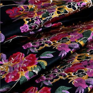 Tissu Dentelle-Broderie Fleurs Multicolor, Noir en Polyester pour Robe, Robe de cérémonie, Robe de soirée, Veste-Manteau légère.