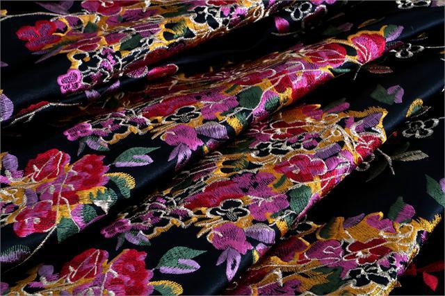 Tissu Brodé Ricamato 000801 Multicolor, Noir en Polyester