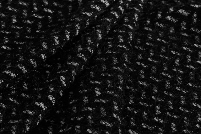Black, White Intreccio 000800 Weaved Wool-blend Fabric