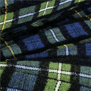 Black, Blue, Green, Yellow Mixed, Wool Tartan Coat fabric for Coat, Jacket.