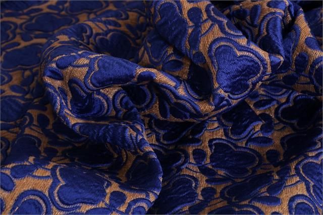 Blue, Yellow Jacquard Varie Fabric
