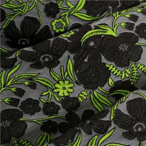 Gray, Green Mixed Flowers Jacquard fabric for Dress, Jacket, Skirt.