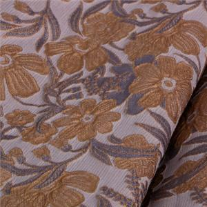 Brown, Gray Mixed Flowers Jacquard fabric for Dress, Jacket, Skirt.