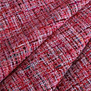 Fuxia, Red Mixed Weaves Bouclé/Weave/Tweed fabric for Dress, Jacket, Skirt.