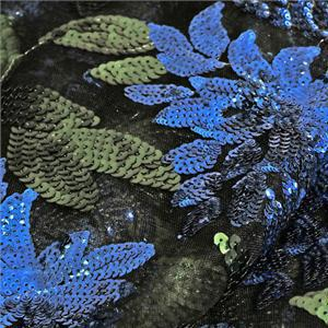 Black, Blue, Green Mixed Flowers Laces-Embroidery fabric for Ceremony Dress, Dress, Party dress.