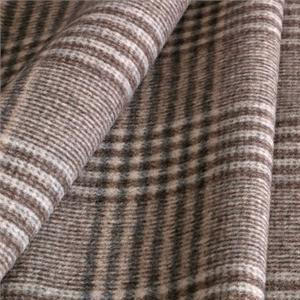Beige, Gray Wool Tartan Coat fabric for Coat, Jacket, Skirt.