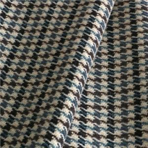 Beige, Blue Mixed, Wool Tartan Coat fabric for Coat, Jacket, Skirt.