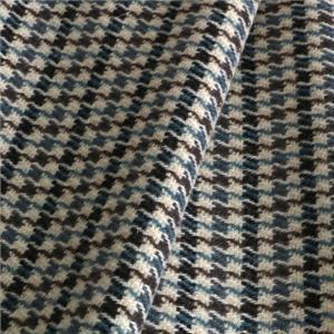 Tissu Manteau Tartan Beige, Bleu en Laine, Mélangés pour Jupe, Manteau, Veste.