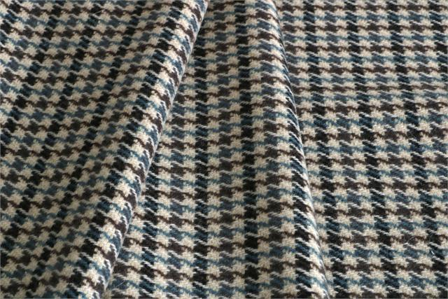Beige, Blue Tartan Wool-blend Coating Fabric - Pied Poule 000800