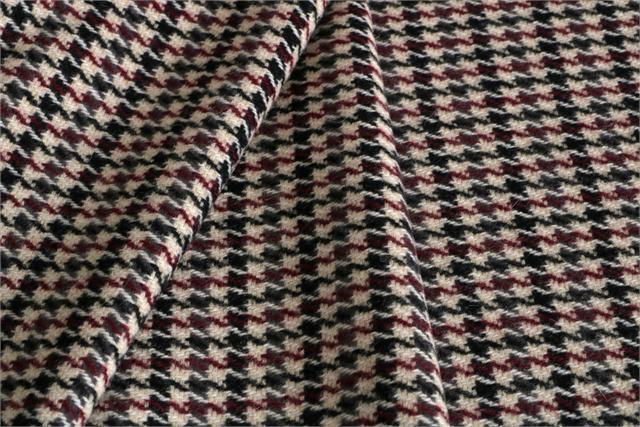 Beige, Red Tartan Wool-blend Coating Fabric - Pied Poule 000801