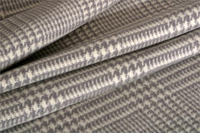 Tissu Principe di Galles 000800 Blanc, Gris en Laine