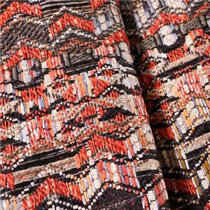 Orange, Red Mixed Ethnic Bouclé/Weave/Tweed fabric for Jacket, Skirt.
