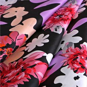 Black, Multicolor, Pink, Red Cotton Lightweight cotton sateen Flowers Print fabric for Dress, Shirt.