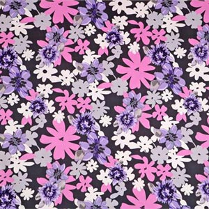 Tessuto Rasetto Stampato 002 Grigio, Multicolore, Rosa, Viola in Cotone