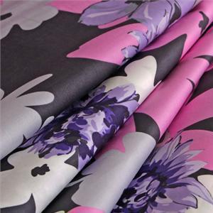 Tissu Imprimé Fleurs Satinette de coton Gris, Multicolor, Rose, Violet en Coton pour Chemise, Robe.