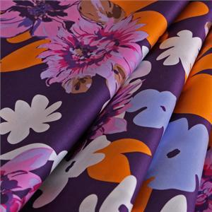 Multicolor, Orange, Pink, Purple Cotton Lightweight cotton sateen Flowers Print fabric for Dress, Shirt.