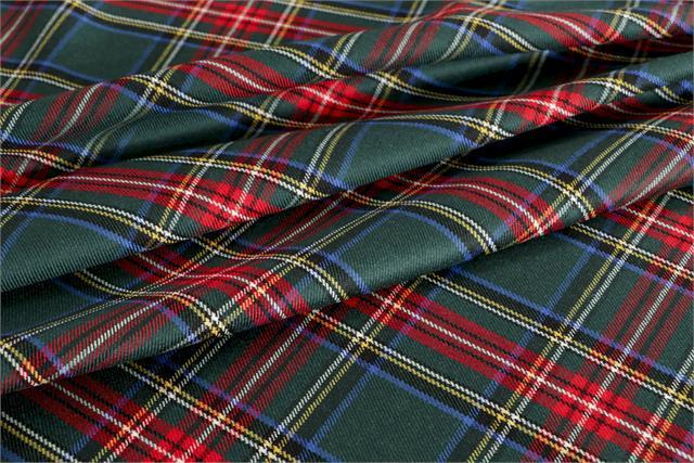 Green, Red Wool Tartan fabric for Dress, Pants, Skirt.