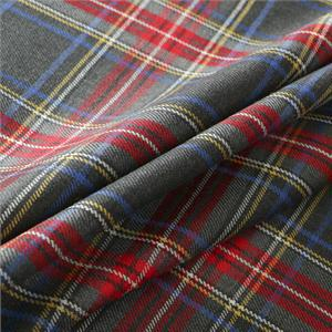 Gray, Red Wool Tartan fabric for Dress, Pants, Skirt.