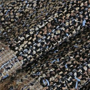 Beige, Black, Blue Mixed Bouclé/Weave/Tweed fabric for Jacket, Light Coat.