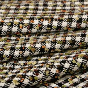 Black, Green, Multicolor, White Mixed Bouclé/Weave/Tweed fabric for Jacket, Skirt.