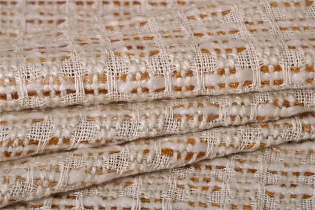Tissu Intreccio 002 Blanc, Jaune en Laine