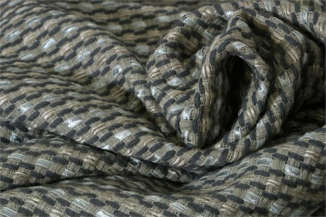 Gray Silk, Cotton and Viscose Weaved Fabric - Intreccio 001
