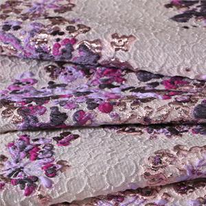 Purple Mixed Flowers Jacquard fabric for Ceremony Dress, Dress, Jacket, Light Coat.